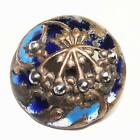 Antique Enamel Button Openwork Brass with Cut Steels Shades of Blue 23mm