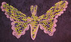 Vintage TRIM or APPLIQUE ~ VARIGATED CROCHET BUTTERFLY ~ 13x12 purple/rose/yello