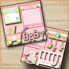 BABY GIRL 2 premade scrapbook pages paper piecing DINOSAUR layout BY DIGISCRAP
