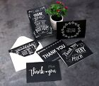 48 Thank You Greeting Cards Black and White Chalkboard Design Blank Note Card
