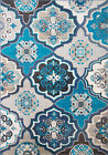 Blue Multi Color Transitional Modern Area Rug Contemporary Floral Carpet Rugs