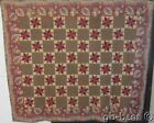 American Chintz c 1840s Red Blue STARS Antique Quilt MUSEUM Swans Sunflowers COL