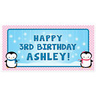 Winter Wonderland Penguins Birthday Banner Personalized Party Backdrop