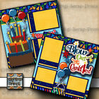 BIRTHDAY 2 premade scrapbook pages paper piecing layout print DIGISCRAP A0097