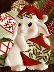 """•£ FITZ AND FLOYD CHRISTMAS BUNNY BLOOMS 8 1/4"""" CANAPE PLATE 2004 #78743"""