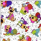 Loralie Fabric Tossed Happy Dogs White bright bold red blue cotton sew quilt BTY