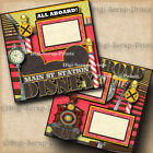 DISNEY RAILROAD 2 premade scrapbook pages paper layout train station DIGISCRAP
