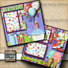 BIRTHDAY 2 pre made scrapbook pages paper piecing layout BY DIGISCRAP A0101