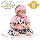 Sleeping Reborn Baby Doll Girl That Look Real Silicone Pink with Cow Pattern 22