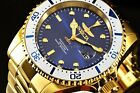 Invicta Pro Diver 43mm Royal Blue Sunray Dial 18K Gold Plated SS Bracelet Watch