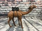 Vintage Camel Leather Wrapped Figure Figurine Statue w Black Saddle 1275x15
