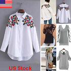 New Girls Ladies Shoulder Floral Print Long Sleeve T Shirt Blouse Casual Tops US