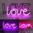 LED Sign LOVE Decorative Neon Night Light Pink Battery Operated Valentine Decor