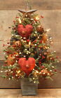 SMALL HANDMADE  PRIMITIVE TABLE TOP LIGHTED VALENTINES DAY AMERICANA TREE