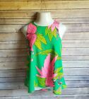 Julie Brown NYC Lime Green Retro Floral Sleeveless Layered Top Medium