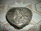 CHIC VINTAGE JAPAN Lg HEART ROMANTIC COUPLE DOG METAL JEWELRY CASKET BOX SHABBY