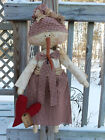 FoLk Art PrimiTive WinTer ValenTines Day SNOWMAN DOLL Red HearT DecoraTion TaG