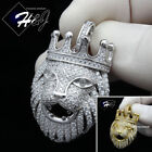 MEN 925 STERLING SILVER ICY DIAMOND BLING SILVER GOLD LION HEAD PENDANTSP191