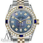 Rolex Gold & SS 36mm Datejust Watch Tahitian MOP Dial with Sapphire & Diamond
