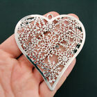 Snowflake Heart Charm Antique Silver Tone With Inset Rhinestones SC6246