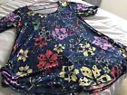 LuLaRoe S Small Perfect T EUC Navy Blue Floral purple pink coral green yellow