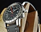 Glycine 42mm Airman Base 22 Black Dial Swiss GMT Automatic Leather Watch 3887