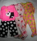 Infant Toddler Girls Lot of 3 Pajamas Sleepwear by Carters 12 Months