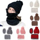 Women Knitting Wool Skiing Outdoor Sports Beanie Hat Scarf Set Cold Weather Mask