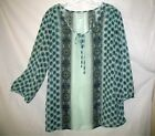 Old Navy XL Womens Tunic Top Peasant Blue Green Paisley Boho Hippie New