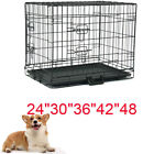 Dog Crate Kennel Folding Metal Pet Cage 2 Door Divider Tray Pan S M L XL XXL