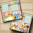 1ST EASTER 2 premade scrapbook pages paper piecing BABY boy or girl DIGISCRAP