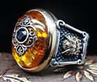 Turkish handmade Jewelry 925 Sterling Silver Amber Mens Ring  ALL SIZE #15645