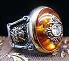 Turkish handmade Jewelry 925 Sterling Silver Amber Mens Ring  ALL SIZE #15646