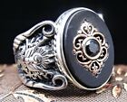 Turkish Handmade Jewelry 925 Sterling Silver Onyx Mens Ring  ALL SIZE #15648