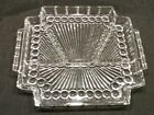 Vintage Art Deco RELISH Tray Handled 4 Part Divided Dish Square Pressed Glass