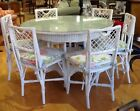 """Antique 1920's 48"""" Glass Topped. White Round Wicker Table/6 Chairs."""