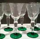 Set 8 vintage mid western glass cordial stems green base fluted bowl beautiful