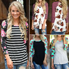 Boho Womens Floral 3 4 Sleeve Shirts Casual Blouse Cotton T Shirt Tee Top S 3XL