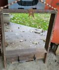 Rustic Wooden Farmhouse Primitive Mirror Barn Wood Hooks Rusty Star Gingham 17