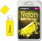 Integral 128GB Neon USB Flash Drive in Yellow a GADGET SHOW AWARD WINNER