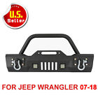 Rock Crawler Front Bumper W LED Lights+Winch Plate Fits 07 17 Jeep Wrangler JK X