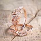 2Pcs Set White Topaz 18K Rose Gold Filled Women Wedding Engagement Ring Sz 5 10