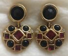 Vintage GIVENCHY Crystal Glass Cabochon Heart Drop Earrings Excellent Statement