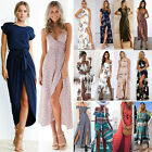 Womens Maxi Long Dress Holiday Summer Evening Party Beach Slit Spilt Sundress