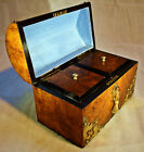 A 19th Century Walnut Domed Top Double Tea caddy with Gothic Brass Mounts