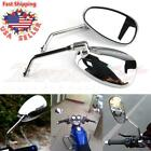 CHROME MOTORCYCLE REAR VIEW MIRRORS LONG STEM FOR HONDA SUZUKI KAWASKI 10MM USA