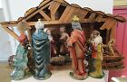 Vintage 10 pc Paper Mache Christmas Nativity Set w Stable XLarge Size Japan