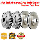 Centric Front  Rear Brake Disc Rotors  Brake Drums 4PCS For Jeep CJ5
