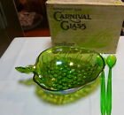 Indiana Carnival Glass Irridescent Lime Green Vintage 3 Pc Salad Set in the Box