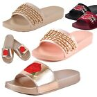 Womens Sandals Flat Slides Flip Flop Slip On Thick Rubber Sole Chain or Rose New